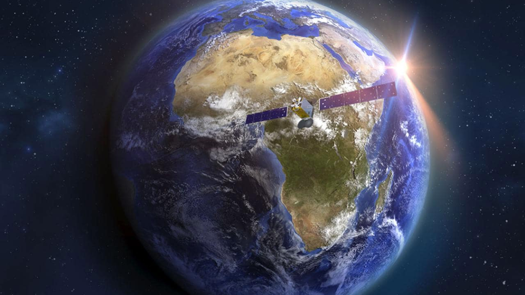 Earth showing a satellite over Africa