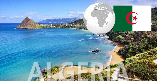 Algeria coastline beach with globe and flag