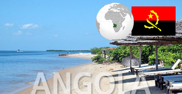 Angola beach with globe position and flag