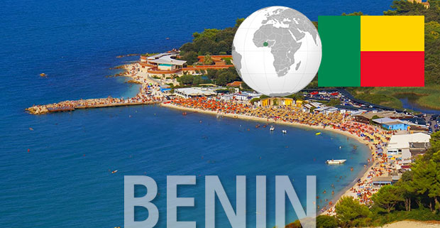 Benin beach with globe position and flag
