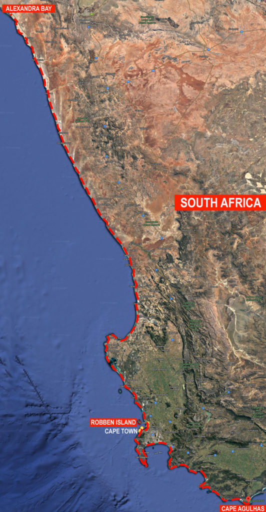Walk4Africa Route Map South Africa Leg 1