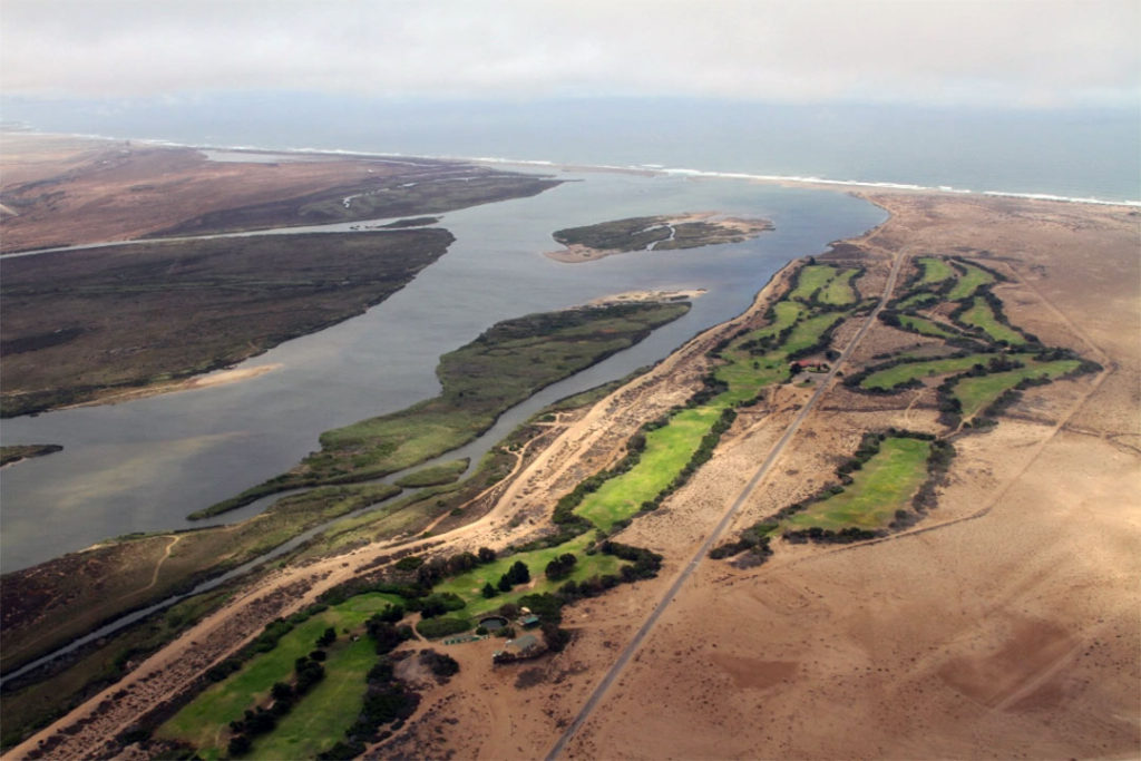 An aerial view of the Orange River Mouth