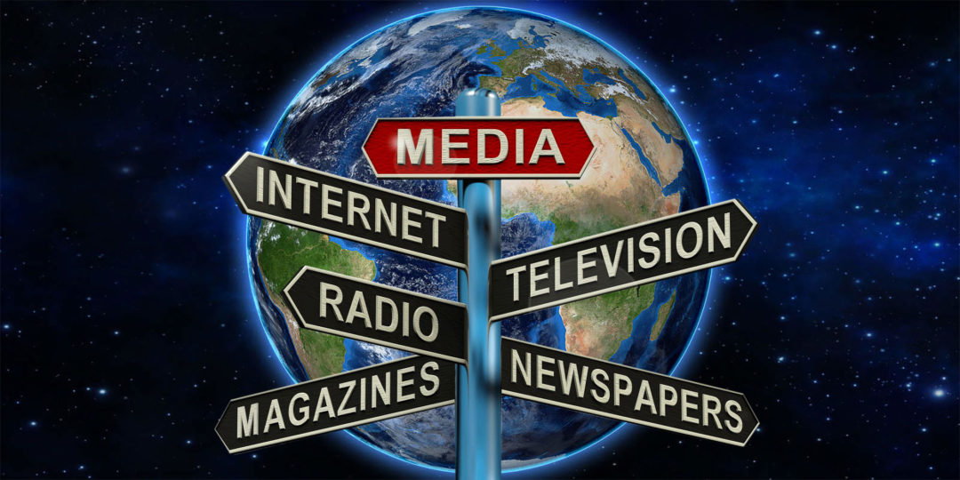 Media signs with world globe background
